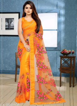 Embroidered Work Designer Net Yellow Saree