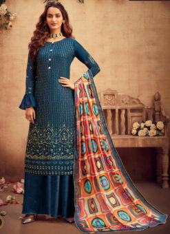 Amazing Blue Viscose Embroidered Work Designer Palazzo Suit