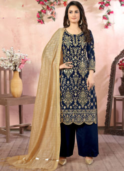 Blue Faux Georgette Embroidered Work Wedding Wear Salwar Suit