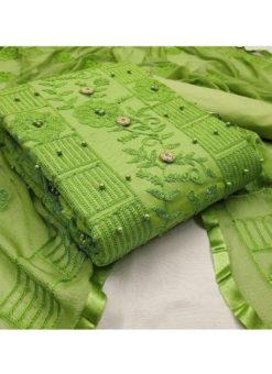 Knockout Green Embroidered And Moti Work Designer Cotton Salwar Kameez