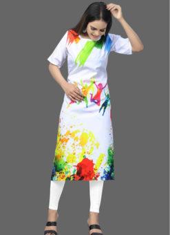 Holi Festival Designer American Crepe Kurti