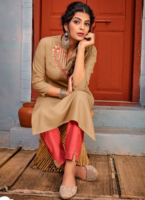 Chikoo Rayon Embroidered Work Party Wear Kurti With Designer Pant