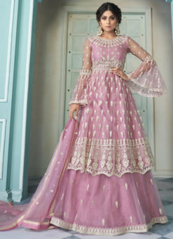 Lavender Butterfly Net Front N Back Full Embroidery Sharara Salwar Suit
