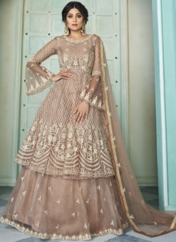 Brown Butterfly Net Front N Back Full Embroidery Sharara Salwar Suit