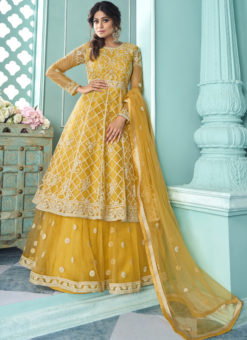 Yellow Butterfly Net Front N Back Full Embroidery Sharara Salwar Suit