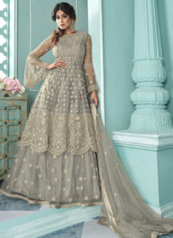 Grey Butterfly Net Front N Back Full Embroidery Sharara Salwar Suit