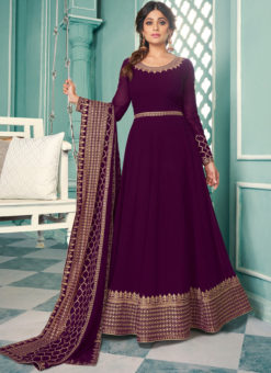 Embroidered Work Designer Georgette Purple Anarkali Suit