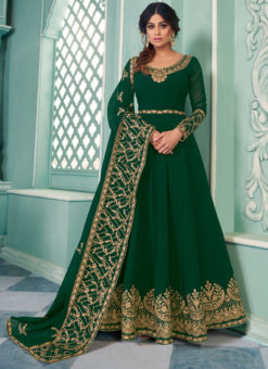 Georgette Embroidered Work Green Designer Anarkali Suit