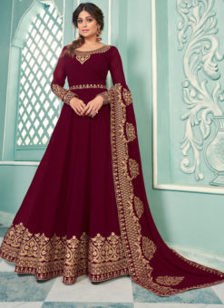 Designer Magenta Georgette Embroidered Work Anarkali Suit