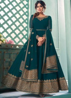 Designer Rama Embroidered Work Georgette Anarkali Suit