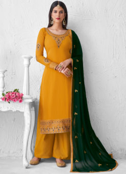 Embroidered Work Yellow Party Wear Designer Palazzo Suit