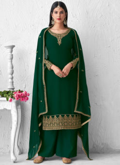 Palazzo Suit Georgette Designer Embroidered Work Green