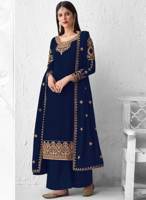 Designer Embroidered Work Blue Georgette Palazzo Suit