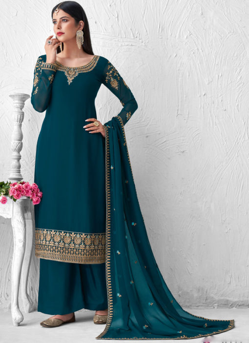 Georgette Embroidered Work Georgette Rama Palazzo Suit