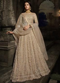 Cream Embroidered Work Designer Floor Length Net  Anarkali Suit