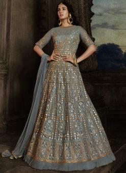 Grey Embroidered Work Designer Floor Length Net Anarkali Suit