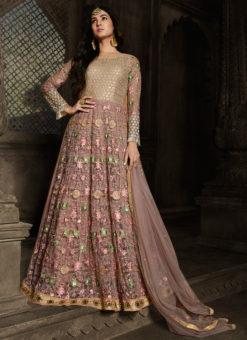Lavender Embroidered N Resham Work Designer Net Anarkali Suit