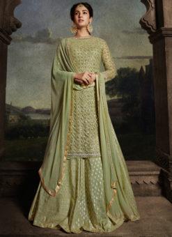 Green Embroidered Work Designer Floor Length Net Anarkali Suit