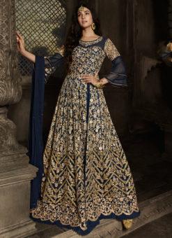 Blue Designer Embroidered Work Party Wear Net Anarkali Suit