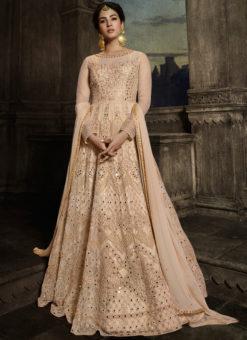 Party Wear Peach  Designer Embroidered Work Net Anarkali Suit