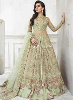Green Net Embroidered Work Floor Length Designer Anarkali Suit