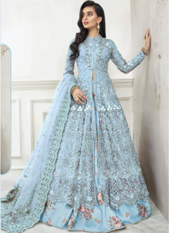 Sky Blue Net Embroidered Work Floor Length Designer Anarkali Suit