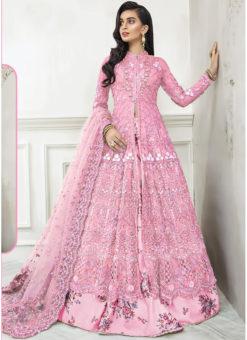 Pink Net Embroidered Work Designer Floor Length Anarkali Suit