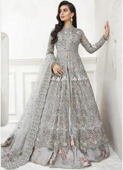Grey Net Embroidered Work Designer Floor Length Anarkali Suit