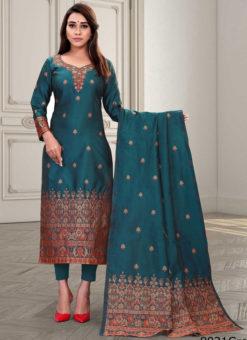 Regular Designer Embroidery Green Silk Salwar Suit