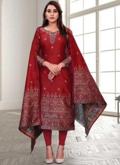 Regular Designer Embroidery Red Silk Salwar Suit