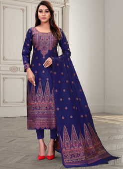 Regular Designer Embroidery Blue Silk Salwar Suit