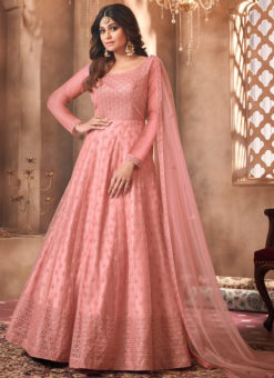 Shamita Shetty Pink Net Embroidered Work Bollywood Designer Anarkali Suit