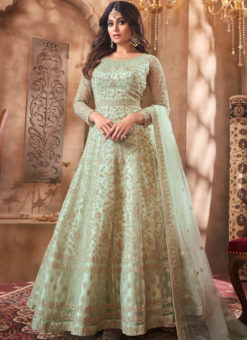 Shamita Shetty Pista Net Embroidered Work Bollywood Designer Anarkali Suit