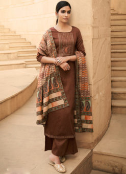 Delicious Chocolate Brown Cotton Embroidered Work Party Wear Palazzo Suit