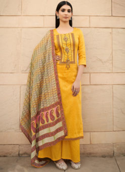 Divine Yellow Pure Cotton Embroidered Work Designer Palazzo Suit