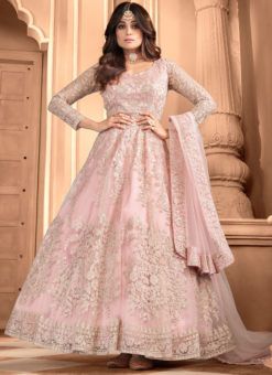 Shamita Shetty Baby Pink Net Embroidered Work Bollywood Designer Anarkali Suit
