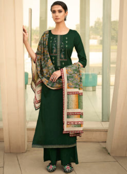 Beauteous Green Cotton Embroidered Work Designer Palazzo Suit