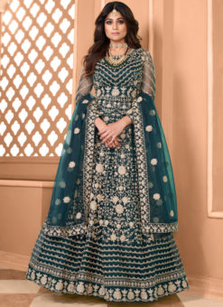 Shamita Shetty Morpich Net Embroidered Work Bollywood Designer Anarkali Suit