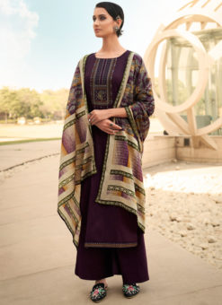Engaging Purple Cotton Embroidered Work Designer Palazzo Suit