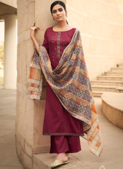 Smashing Maroon Cotton Embroidered Work Designer Palazzo Suit