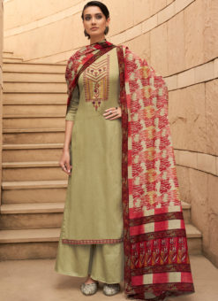 Superb Cream Pure Cotton Embroidered Work Designer Palazzo Suit