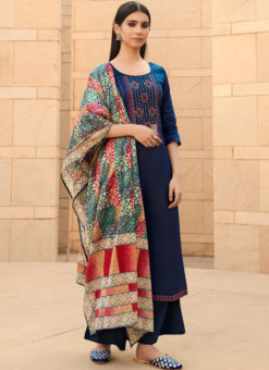 Fetching Blue Cotton Embroidered Work Designer Palazzo Suit