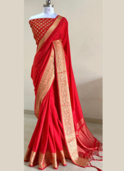 Lovely Red Silk With Woven Border And Sequence Blouse Designer Saree