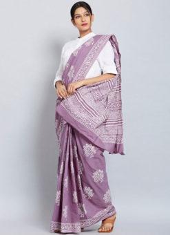 Amazing Lavender Chanderi Silk Digital Print Casual Wear Saree