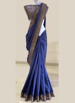 Amazing Blue Zari Weaving Border Designer Saree