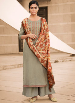 Amazing Beige Pure Cotton Embroidered Work Designer Palazzo Suit