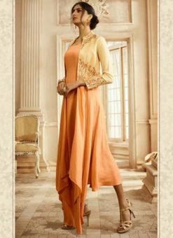 Lovely Peach Rayon Cotton Handwork Designer Kurti