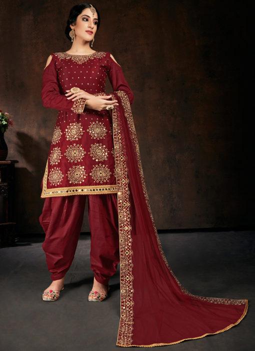 Amazing Maroon Jam Cotton Real Mirror Work Designer Patiyala Salwar Suit