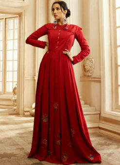 Elegant Red Rayon Cotton Handwork Designer Kurti