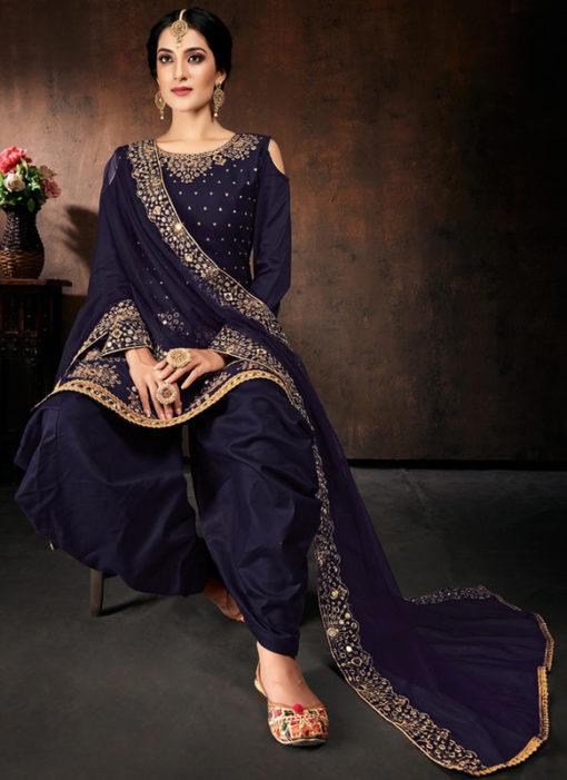 Lovely Blue Jam Cotton Real Mirror Work Designer Patiyala Salwar Suit